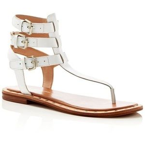 French Connection White Imana Leather Sandals 6